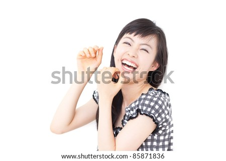 beautiful young girl laughing, isolated on white background - stock photo