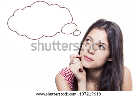 beautiful young girl looking up and thinking - isolated