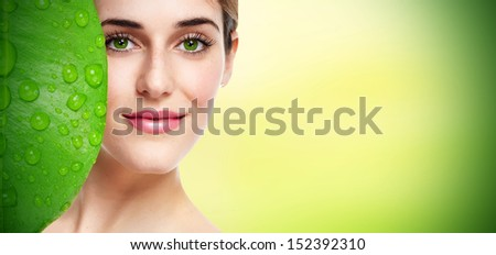 Beautiful young girl portrait close up. Skin care. - stock photo