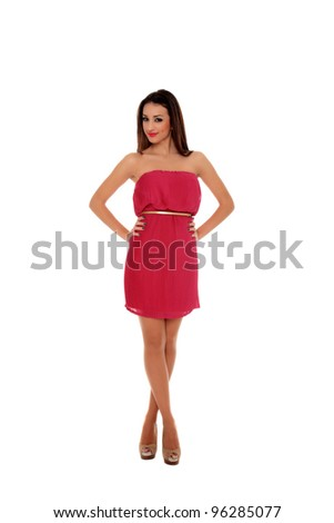 beautiful young girl portrait on a red dress isolated on a white background