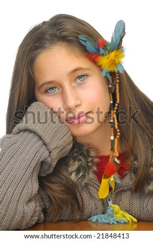 Beautiful young girl posing against a white background
