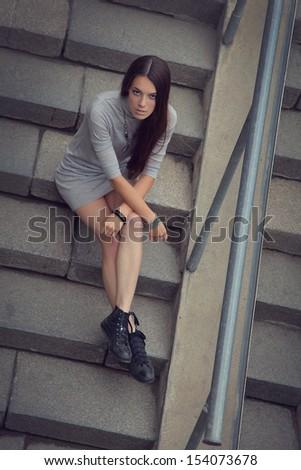 beautiful young girl relaxing outdoors - stock photo