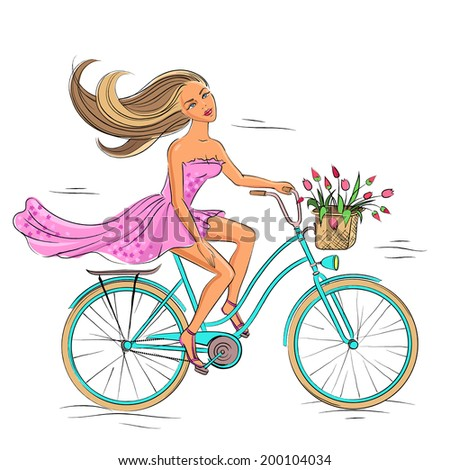 Beautiful young girl riding on the blue bike isolated on the white background - stock illustration - stock photo