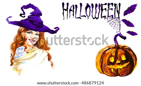 Beautiful young girl - Witch. Halloween costume. Watercolor illustration