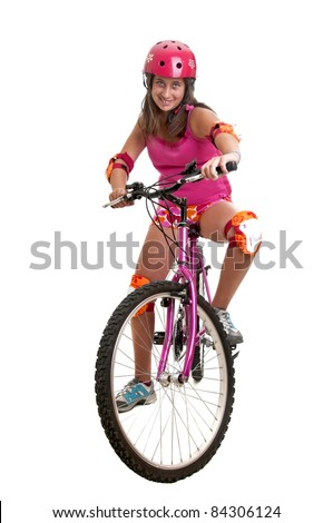 Beautiful young girl with a bicycle isolated in white
