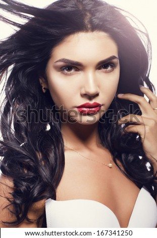 beautiful young girl with black hair - stock photo