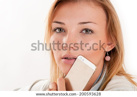 beautiful young girl with mobile phone