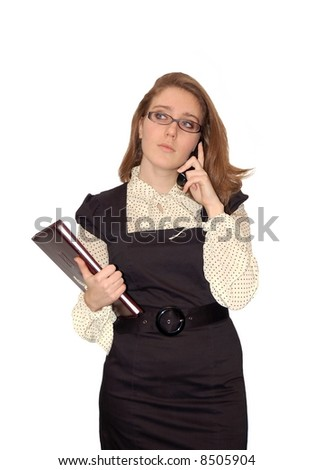 Beautiful young girl with phone isolated over a white background - stock photo