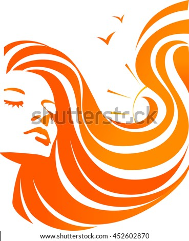 Beautiful young girl with sun in long wavy orange hair. Abstract woman and sea. Raster version - stock photo