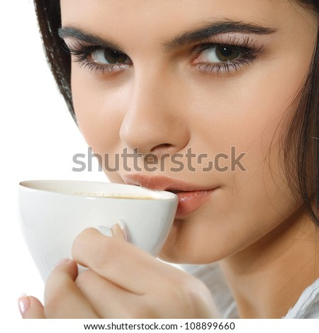 beautiful young girl  with  the cup of coffee - stock photo