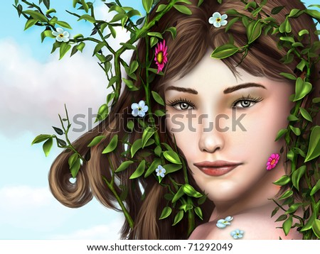 Beautiful young girl with vines, leaves and flowers decorating her hair and face. Digital illustration. - stock photo