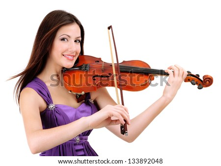 Beautiful young girl with violin, isolated on white - stock photo