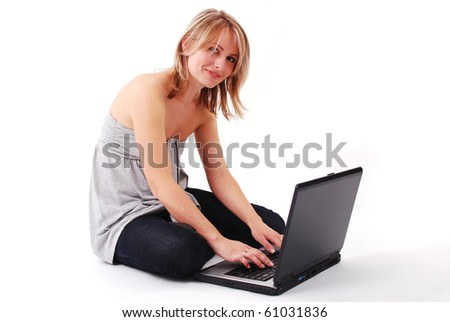 beautiful young girl working on laptop