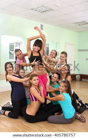 beautiful young girls engaged in fitness