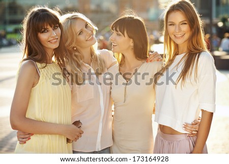 Beautiful young girls on a summer day - stock photo