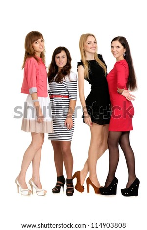 beautiful young girls posing on light - stock photo
