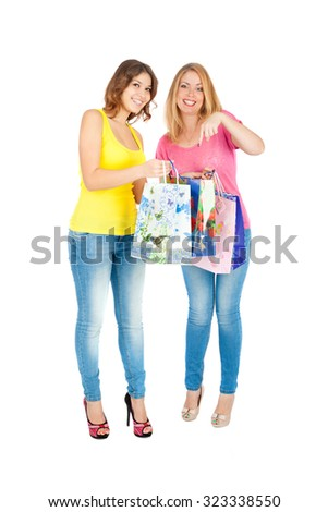 beautiful young girls shopping closeup - stock photo