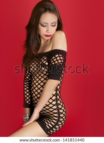 Beautiful young glamor woman - stock photo