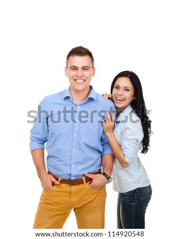 beautiful young happy couple love smiling embracing, man and woman smile looking at camera, isolated over white background - stock photo