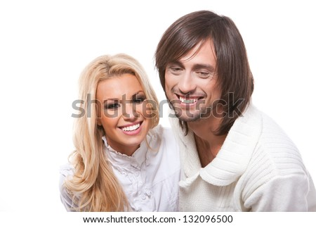 beautiful young happy couple love smiling, man and woman smile, isolated over white background