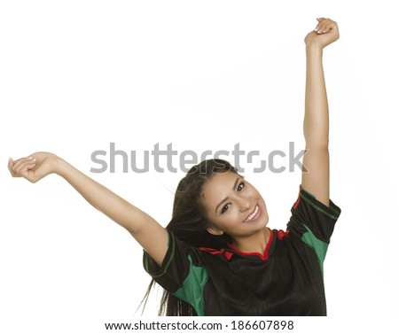 Beautiful young happy smiling woman with arms outstretched in celebration isolated against white background - stock photo