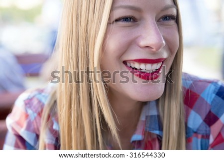 beautiful young hipster woman-She wears her own style with pride - stock photo