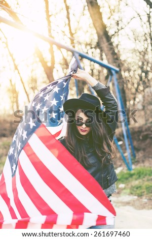 Beautiful Young Hipster Woman with USA Flag - stock photo