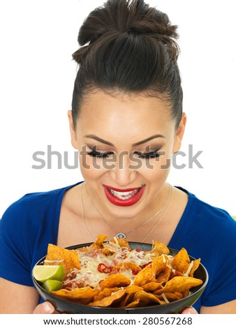 Beautiful Young Hispanic Woman Holding A Dish of Nachos with Cheese and Spicy Salsa Sauce