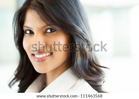 beautiful young indian businesswoman closeup - stock photo