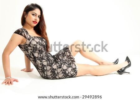 Beautiful Young Indian Woman in Isolated Studio Setting