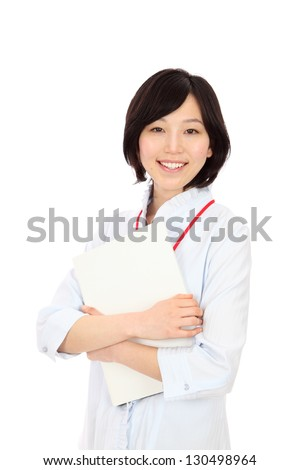 Beautiful young japanese women with a file in white background - stock photo