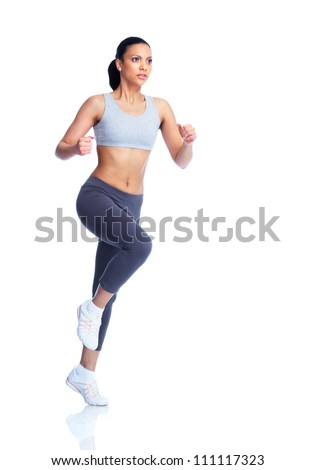 Beautiful young jogging woman. Isolated over white background.