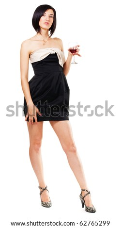 Beautiful young lady holding a glass of wine, full-length portrait - stock photo