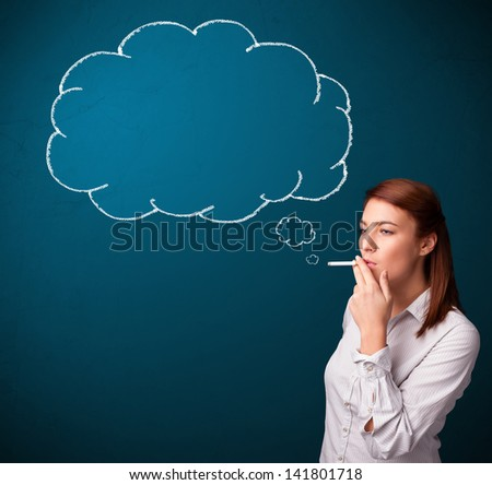 Beautiful young lady smoking cigarette with idea cloud