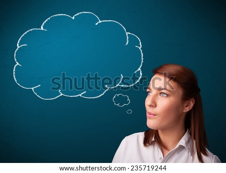 Beautiful young lady smoking cigarette with idea cloud - stock photo