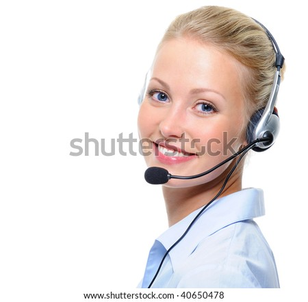 Beautiful young laughing cheerful woman with headphones with microphone - stock photo