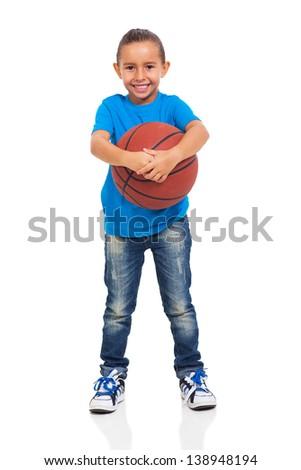 beautiful young little girl holding a  basket ball on white background - stock photo