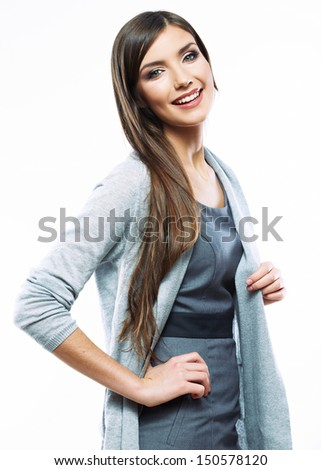 Beautiful young long haired business woman white background isolated portrait. Young beauty female model.
