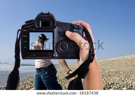 beautiful young model in a photography session with pro photographer