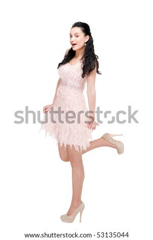 Beautiful young model in modern dress on white background