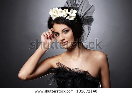 Beautiful young model in vintage bridal image - stock photo