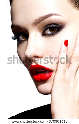 Beautiful young model with red lips. Gorgeous Woman Face. - stock photo