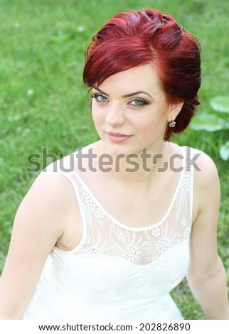 Beautiful young modern bride  - stock photo