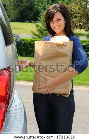 Beautiful Young Mom Loading Groceries Into Stock Photo Image