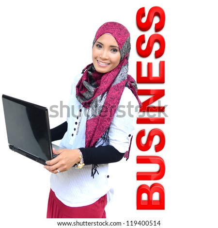 Beautiful young muslim woman with smile with business 3d isolated over white background - stock photo
