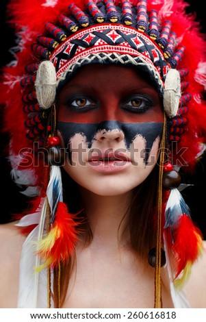 Beautiful young native American Indian woman - stock photo