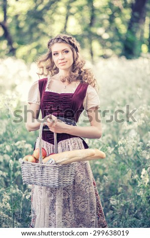 Beautiful Young Peasant Girl Traditional French Stock Photo