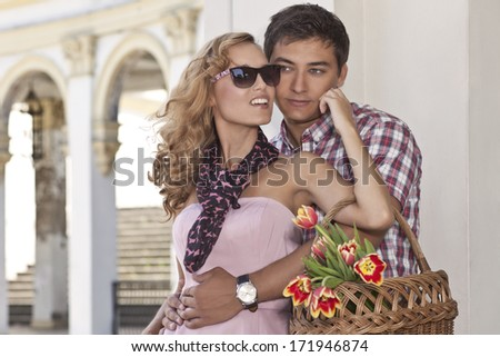 Beautiful young people in love - romantic date - stock photo