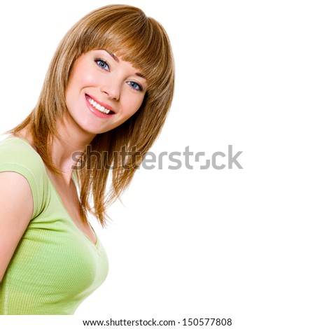 Beautiful young pretty woman with charming toothy smile - stock photo
