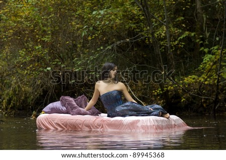 Beautiful Young Princess Awakens in Woodland Stream